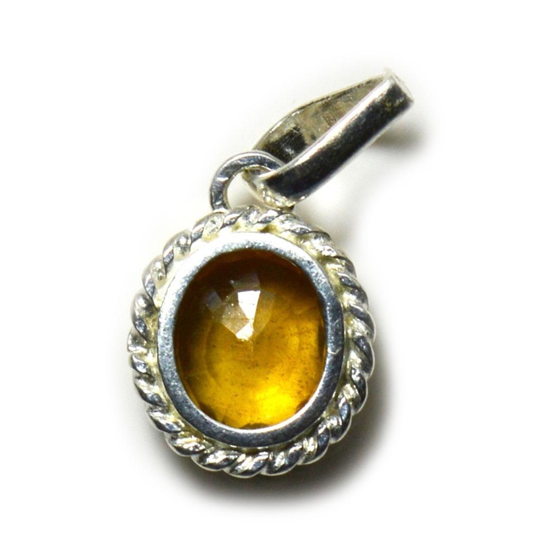 Echte-gelbe-Saphir-Sterling-Silber-Anhanger-5-Karat-Charm-Halskette-Schmuck Indexbild 4