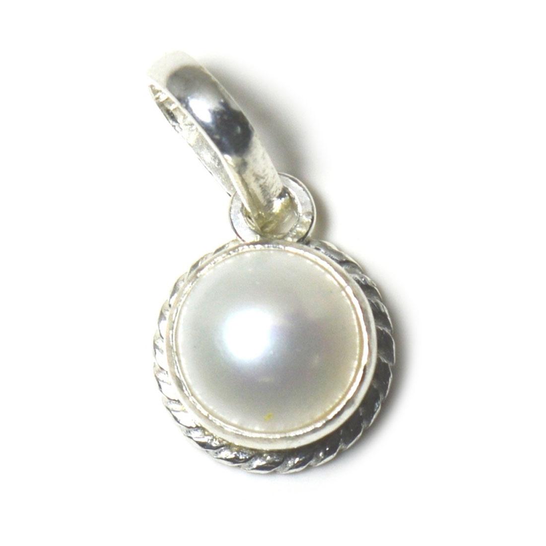 Echte-Perle-925-Sterling-Silber-5-Karat-Anhanger-Charm-Halskette-White-Schmuck