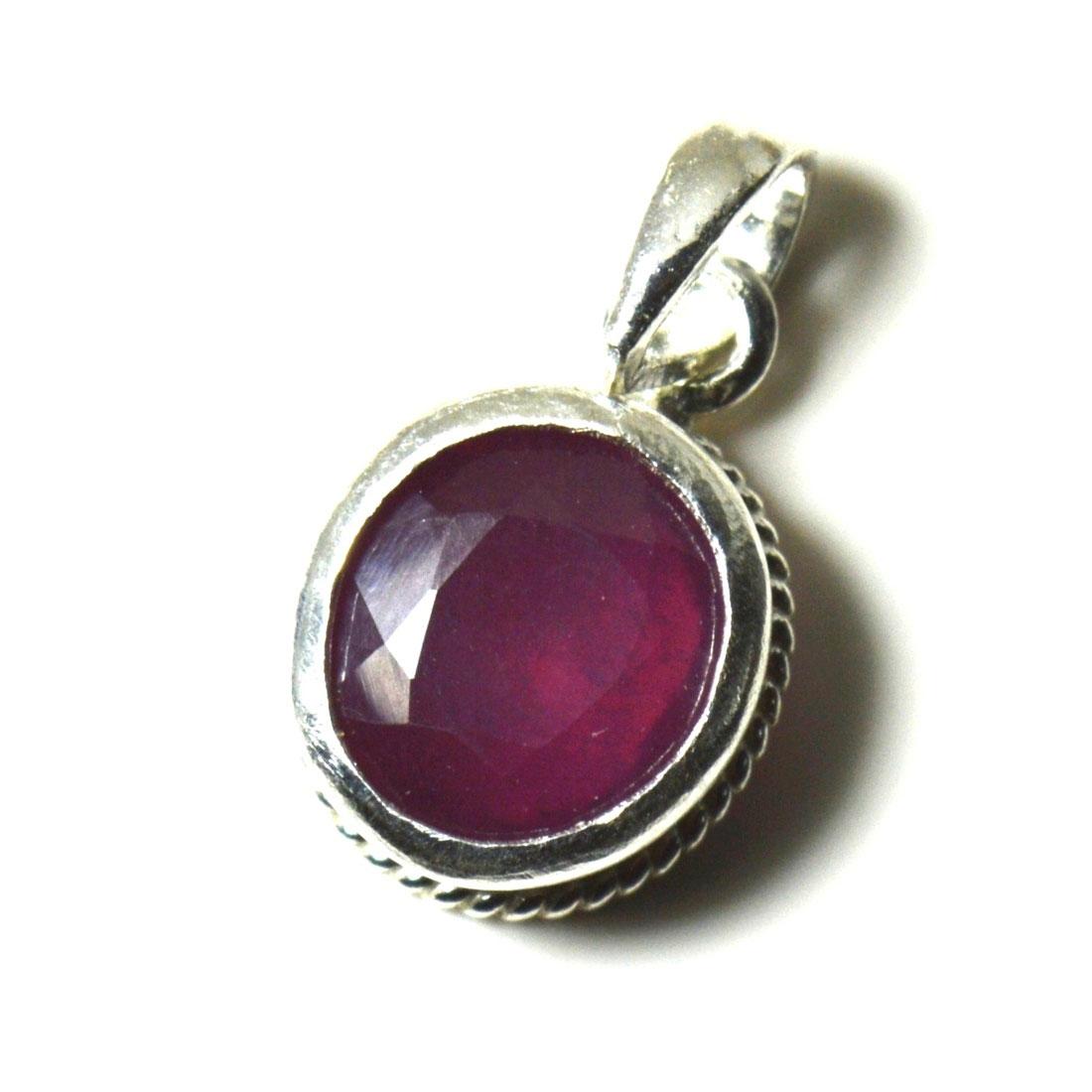 Echte-Rubin-925-Sterling-Silber-5-Karat-Anhanger-Charm-Halskette-roten-Schmuck Indexbild 2