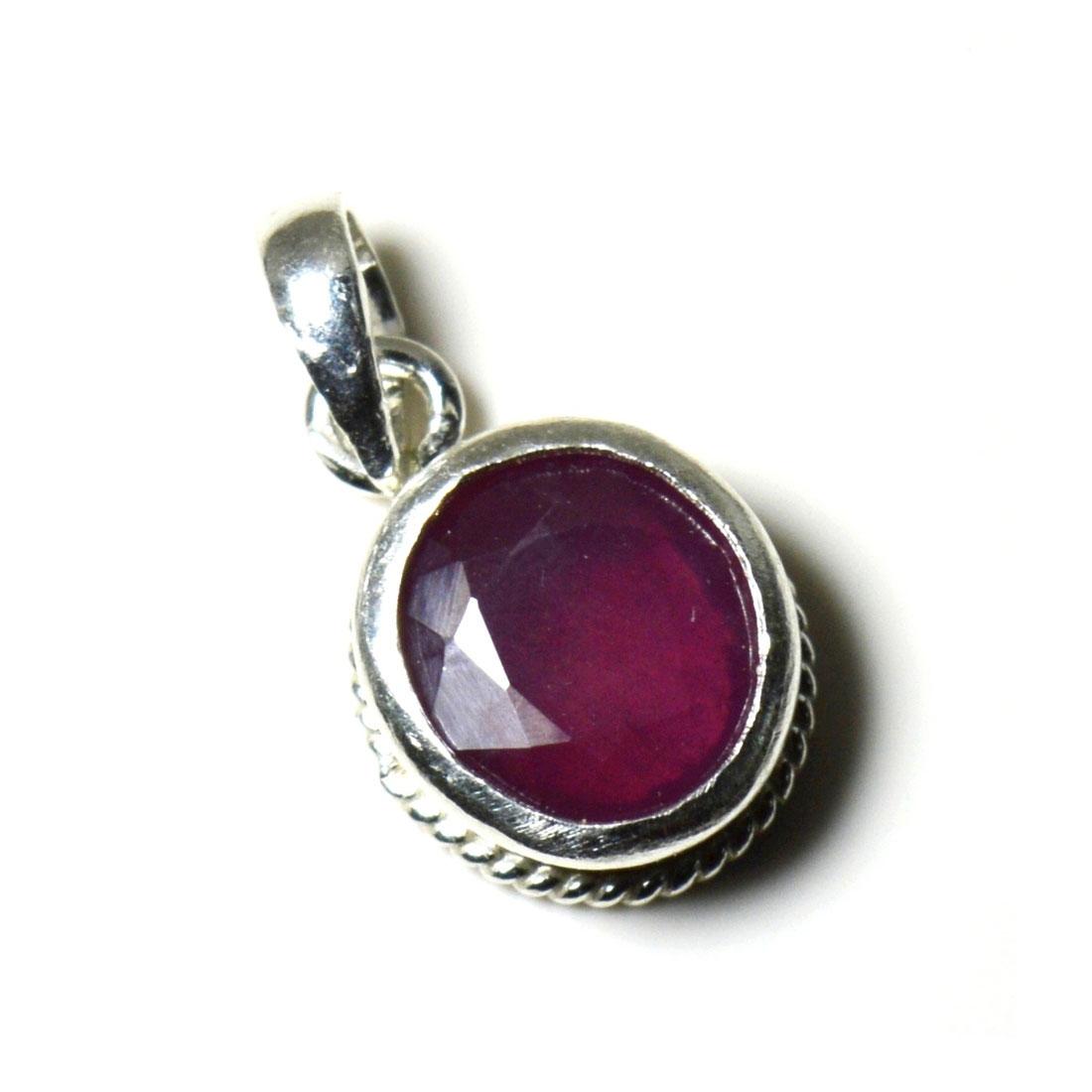 Echte-Rubin-925-Sterling-Silber-5-Karat-Anhanger-Charm-Halskette-roten-Schmuck Indexbild 3