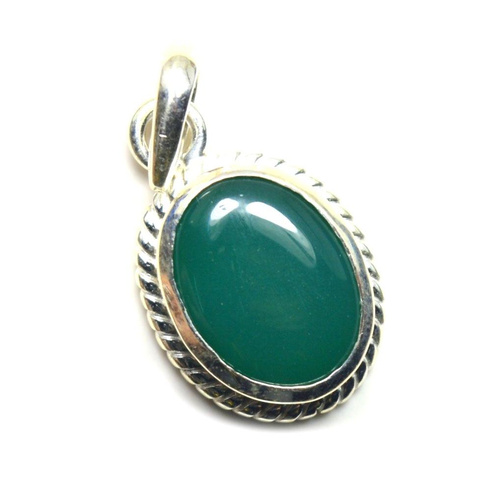 Echter-green-Onyx-Sterling-Silber-Anhanger-5-Karat-Halskette-Charm-Stein-Schmuck