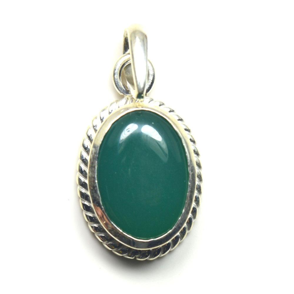Echter-green-Onyx-Sterling-Silber-Anhanger-5-Karat-Halskette-Charm-Stein-Schmuck Indexbild 2