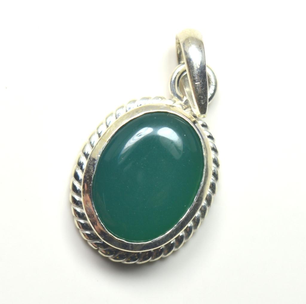 Echter-green-Onyx-Sterling-Silber-Anhanger-5-Karat-Halskette-Charm-Stein-Schmuck Indexbild 3