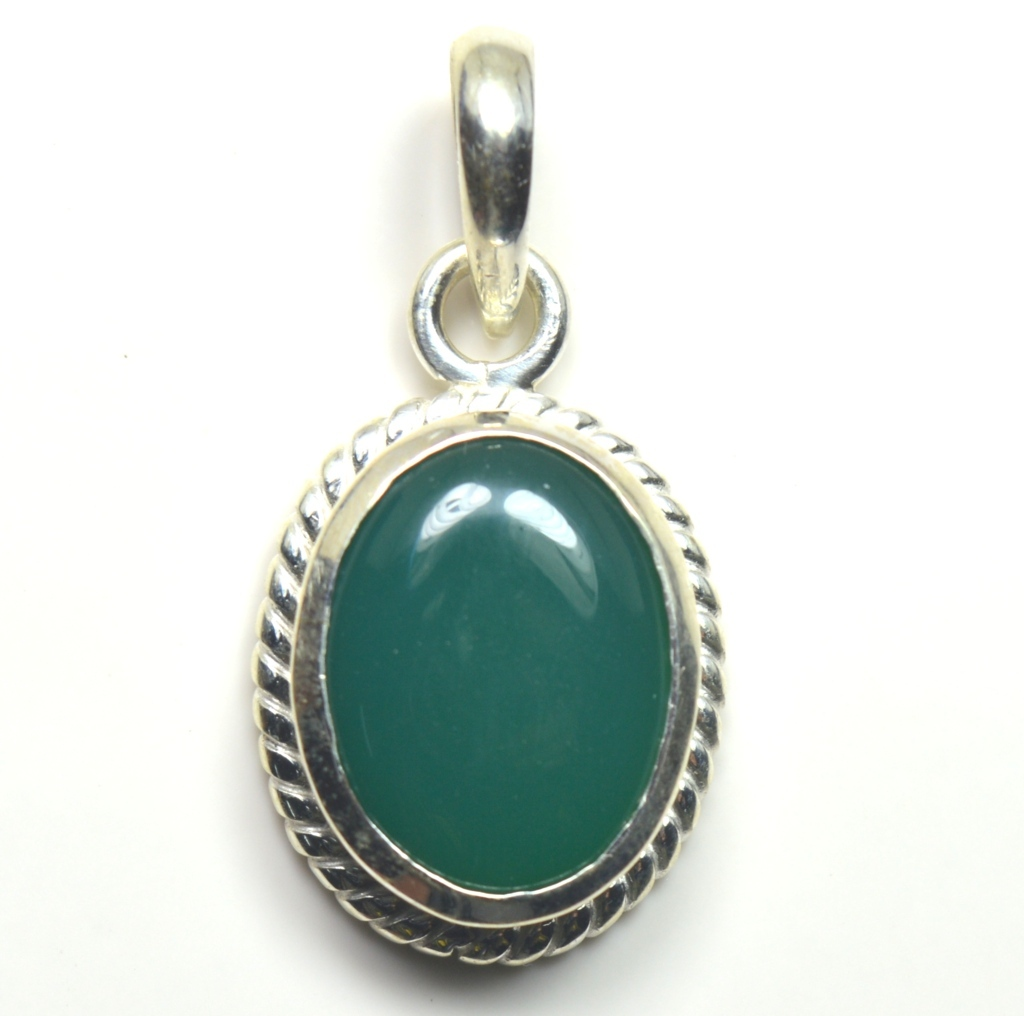 Echter-green-Onyx-Sterling-Silber-Anhanger-5-Karat-Halskette-Charm-Stein-Schmuck Indexbild 4