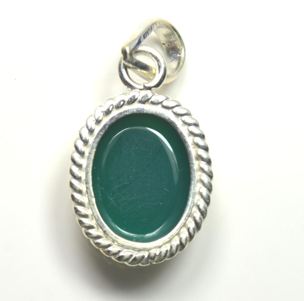 Echter-green-Onyx-Sterling-Silber-Anhanger-5-Karat-Halskette-Charm-Stein-Schmuck Indexbild 5