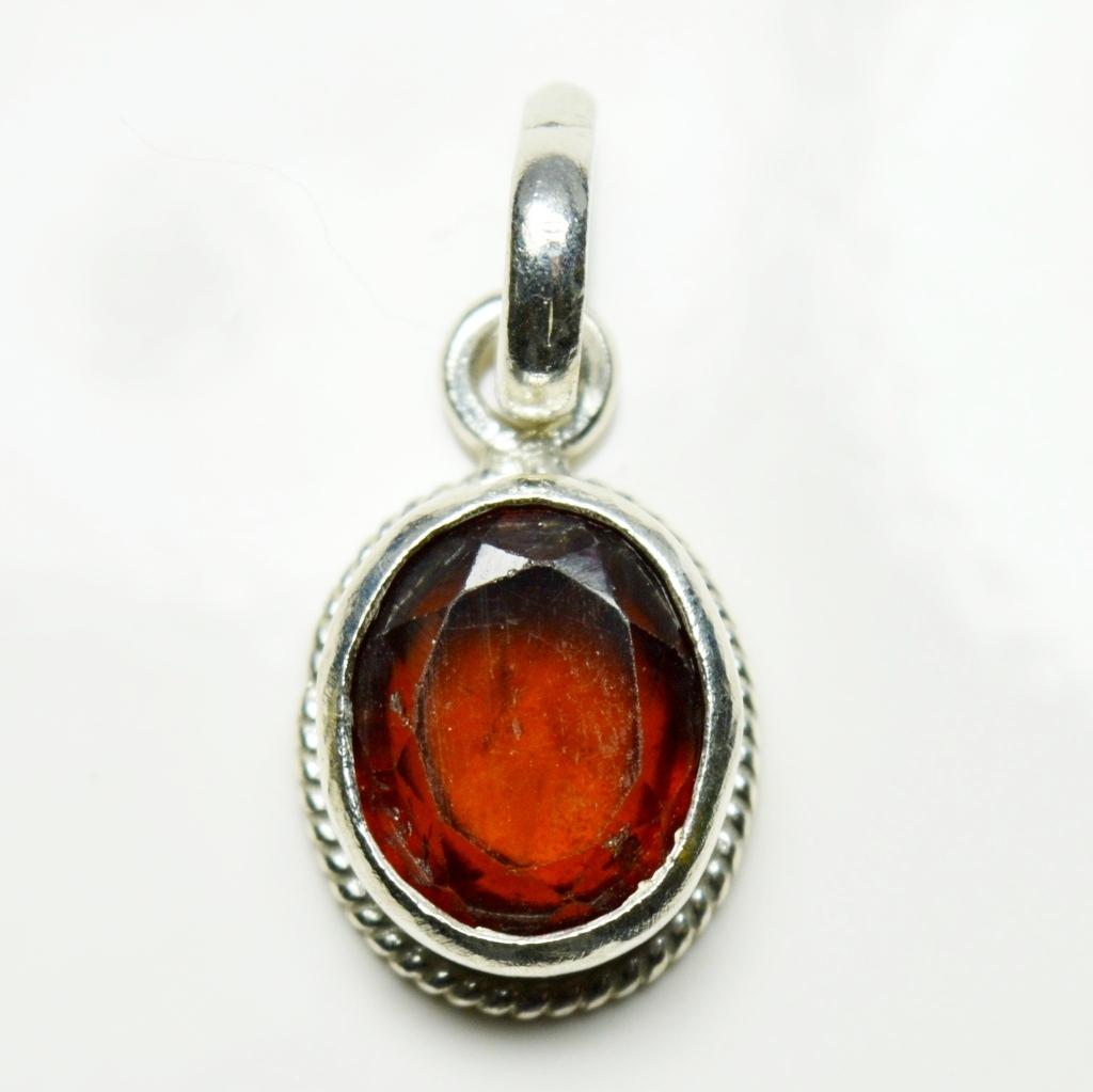 Echte-Ceylon-Hessonite-Sterling-Silber-5-Karat-Edelstein-Anhanger-Charm-Schmuck Indexbild 2