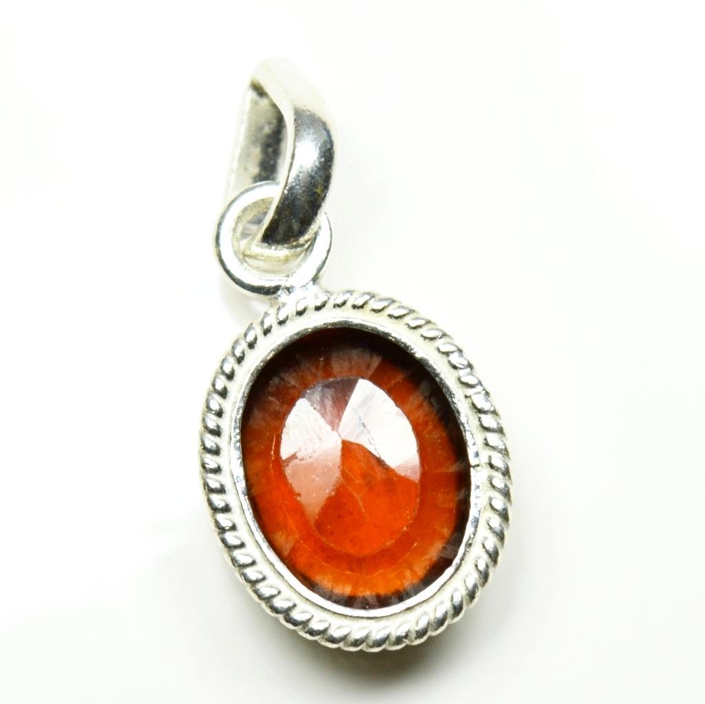 Echte-Ceylon-Hessonite-Sterling-Silber-5-Karat-Edelstein-Anhanger-Charm-Schmuck Indexbild 5