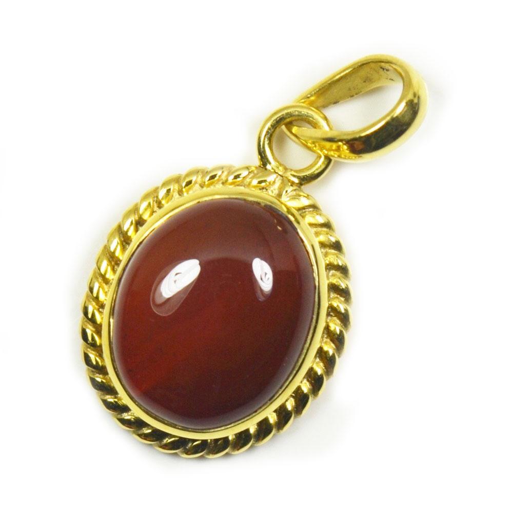 Natural-Gold-uberzogener-Karneol-Anhanger-5-Karat-Roter-Schmuck-Charm-Halskette