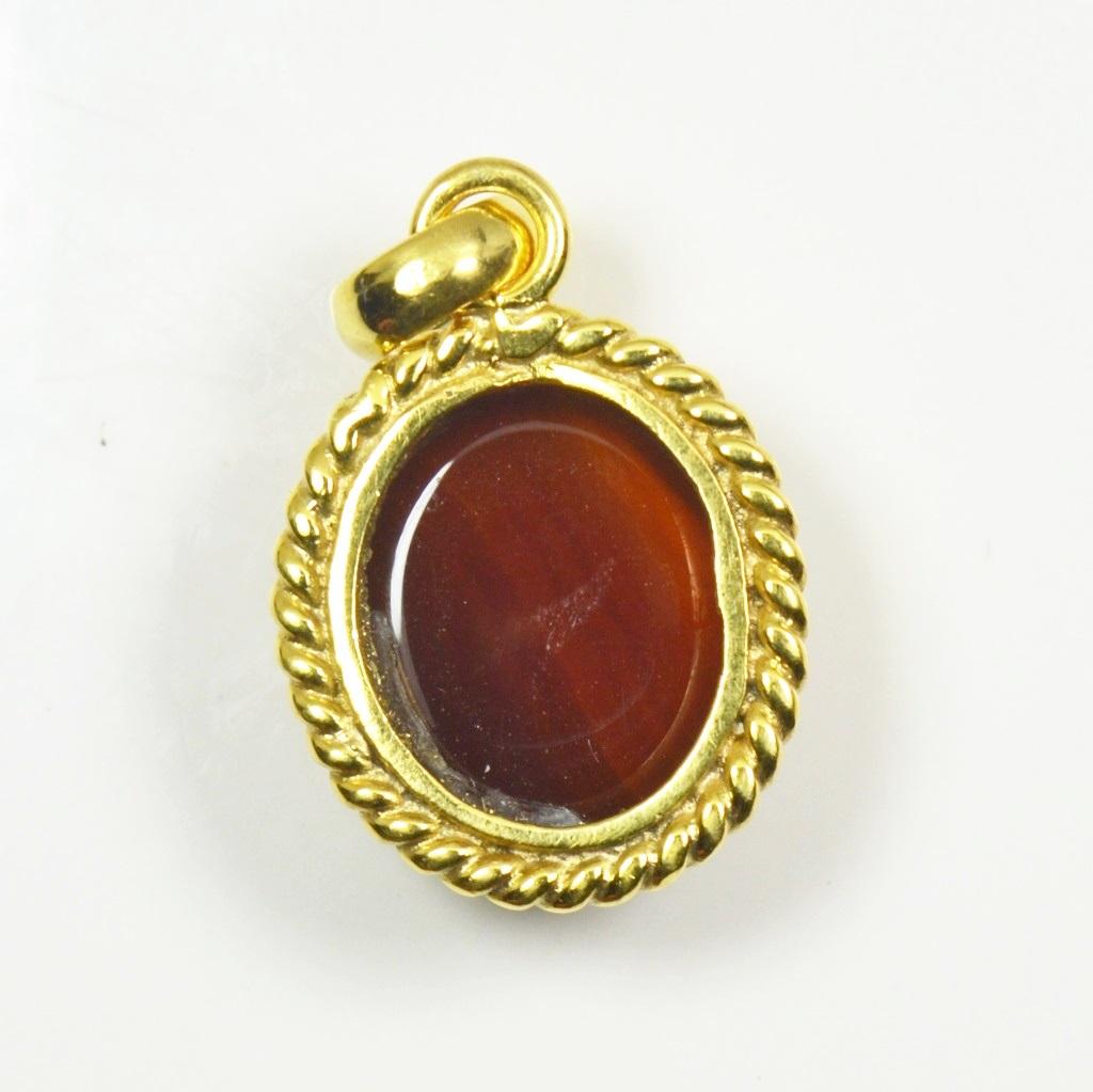 Natural-Gold-uberzogener-Karneol-Anhanger-5-Karat-Roter-Schmuck-Charm-Halskette Indexbild 5