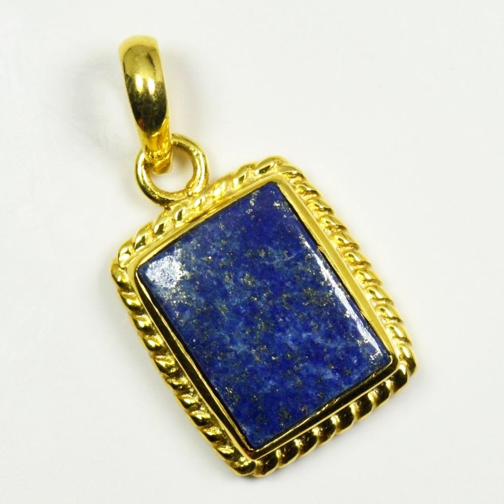 Natural-Vergoldete-Lapis-Lazuli-Anhanger-5-Karat-Halskette-Edelstein-Schmuck Indexbild 3