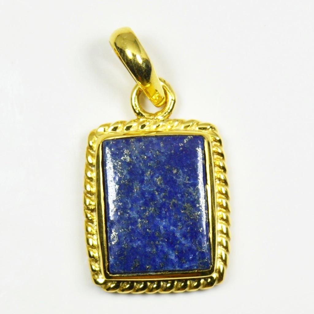 Natural-Vergoldete-Lapis-Lazuli-Anhanger-5-Karat-Halskette-Edelstein-Schmuck Indexbild 5